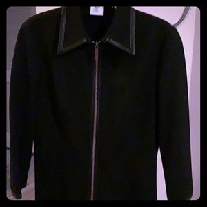 Black Fitted Blazer with Leather Trim